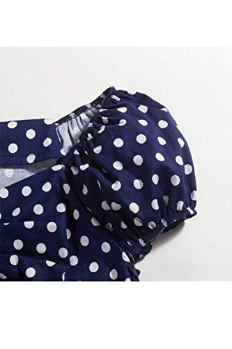 Fashion Dame Fonc Slim Bleu Chic 50 Tops Manches Vintage Haut Fit Loisir Shirt Polka Cou Annee Dots Femme sans Chemisiers Mode V Elgante BBqn1R7O