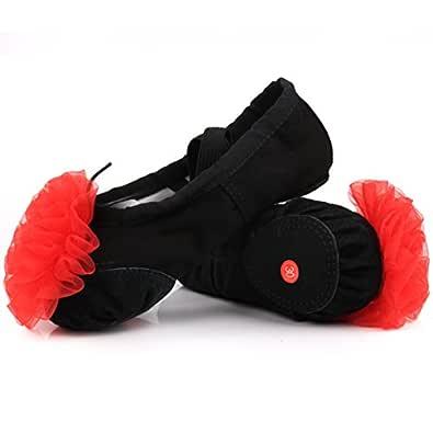 LONSOEN Ballet Slipper Shoes Split-Sole Dance Flat for Girls (Toddler/Little Kid/Big Kid) Black Size: 1 Little Kid