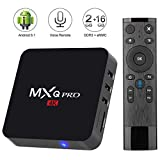 Android 8.1 TV Box with 2.4G Voice Remote,Kingbox MXQ Pro 2GB/16GB(Support 32GB) Quad-Core Built-in WiFi 802.11 b/g/n Support 3D/4K(60Hz)/H.265