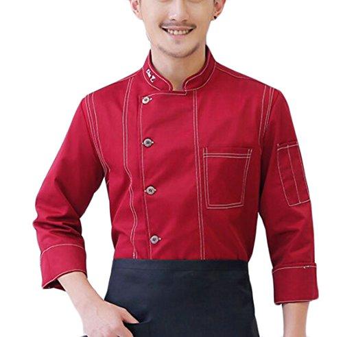 FLCH+YIGE Men Denim Single Breasted Classic Chef Jacket Kitchen Cook Coat Red (Denim Chef Jacket)