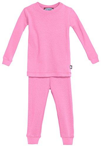 City Threads Certified Organic Thermal Pajama Set, Little Boys and Girls for Sensitive Skin/SPD/Sensory Friendly, Medium Pink, 4T
