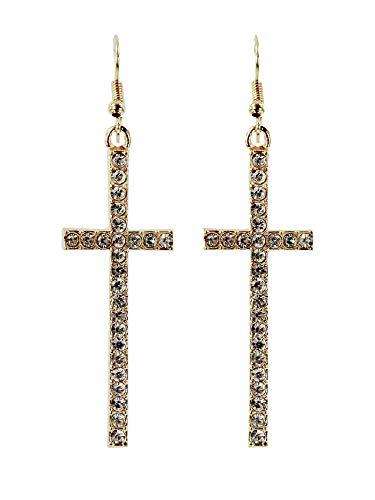 Gold Tone Crystal Rhinestone Cross Drop -
