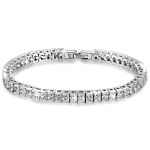 QIANSE Bracelets for Women Snow Queen Tennis Bracelet Swarovski Crystal Bracelets Jewelry for Women Bracelet for Ladies Birthday Anniversary Graduation Gifts for Mom Wife Daughter Girl Grandma Her