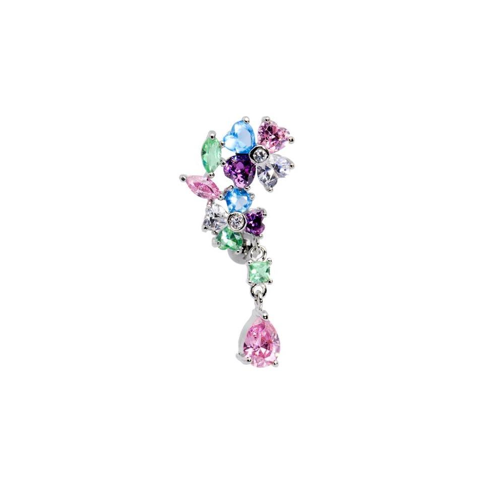 Top Mount Multi Gem Flower Drop Belly Ring