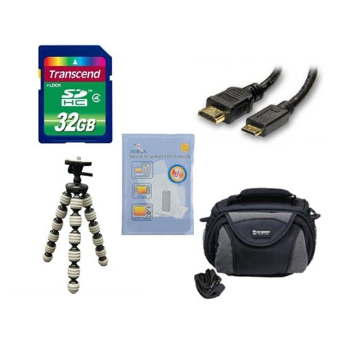 Canon Legria mini X Camcorder Accessory Kit includes: SD32GB Memory Card, SDC-26 Case, HDMI6FM AV & HDMI Cable, ZELCKSG Care & Cleaning, GP-22 Tripod by Synergy Digital
