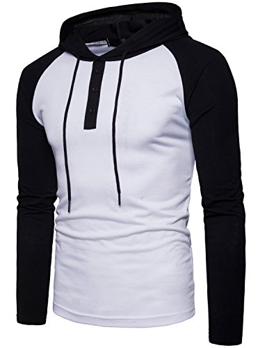 - WHATLEES Mens Casual Henley Baseball Shirt with Hood/Long Sleeve Hoodie T Shirt T153-White Small