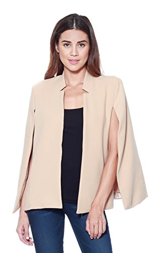 A+D Womens Woven Structured Cape Blazer Suit Jacket w/ Pockets (Sand, Large) (Tweed Fitted Blazer)