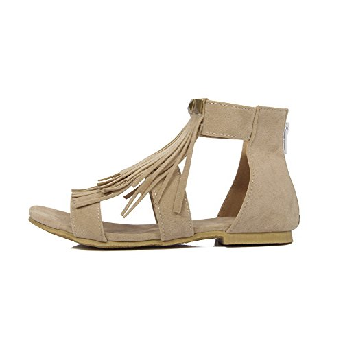 Flats Zipper Suede Solid Beige Sandals Heel Imitated Open No Women's WeenFashion Toe wz8aq