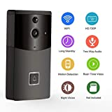 Cary-Yan Smart Video Doorbell Wireless WiFi Doorbell 720p HD Camera Doorbell 170°Wide Angle IR Night Vision and APP Control for Home Office Outdoor