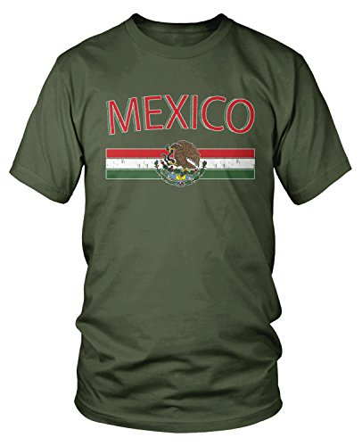 Amdesco Men's Mexican Flag and Coat of Arms, Mexico T-Shirt, Moss Green -
