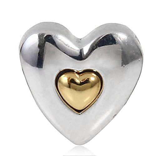 Grams Heart Bracelets - Happy Wedding Anniversary Charms 925 Sterling Silver Heart Beads with Gold plated for Bracelets