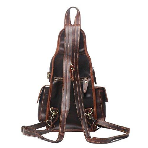 Theft Crossbody Retro Brown Back Shoulder Leather Flyci Anti Chest Men's Pack Dark Casual Bag Zipper FTYqU6R