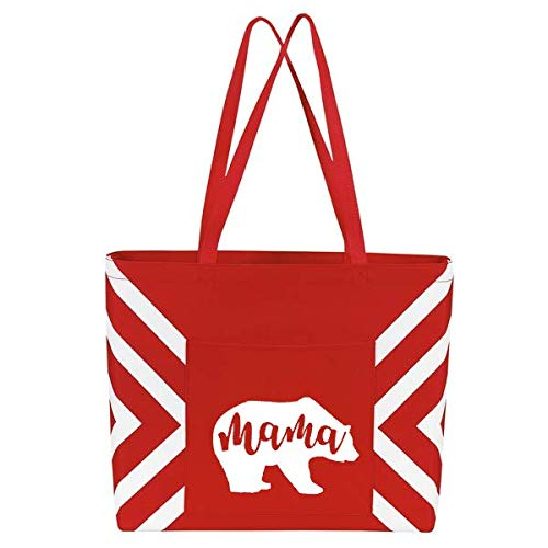 Mama Bear Large Tote Bag with Pocket - Perfect Mother's Day Gift for Mom, Women, Wife
