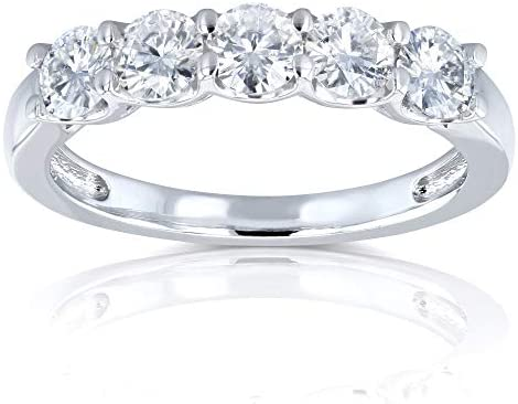 Kobelli Five Stone 4/5 Carat TGW Round Brilliant Near Colorless Moissanite (HI) Bridal Wedding Band in 14k White Gold