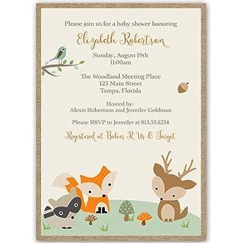 Forest Animals, Baby Shower Invitations, Gender Neutral, Racoon, Deer, Fox,
