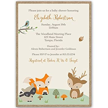 forest animals baby shower invitations gender neutral racoon deer fox