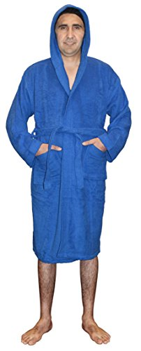 Robe Hooded Blue (SKYLINEWEARS Mens 100% Terry Cotton Toweling Bathrobe Dressing Robe Hooded Blue M)