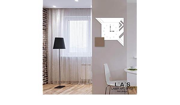 L:A:S Laser Art Style - Reloj de Pared de diseño Moderno para Cocina, salón, salón, Blanco-Gris marrón-Grabado de Madera, 50 x 50 cm: Amazon.es: Hogar