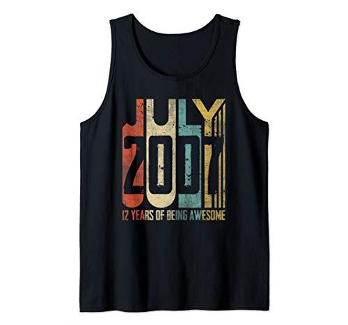 - July 2007 T-Shirt 12 Years Old 12th Birthday Gift Boys Kids Tank Top