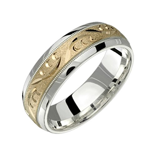 Alain Raphael 2 Tone Sterling Silver and 10k Yellow Gold 7 Millimeters Wide Wedding Band Ring by Alain Raphael