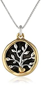 """Two-Toned Sterling Silver with Yellow Gold Flashed """"A Friend May Well Be Reckoned The Masterpiece of Nature-Ralph Waldo Emerson"""" Two Charm Reversible Pendant Necklace, 18"""""""