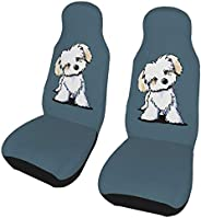 Bfiapj Cute Maltese Puppy Dog Universal Quick Drying Car Seat Covers-2 Pcs Front Seats Protectors for Car SUV