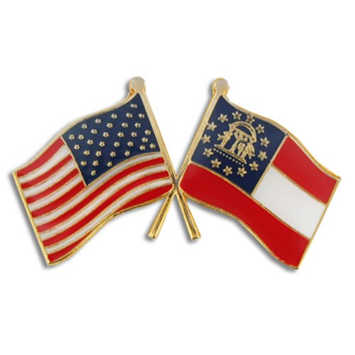 PinMart Georgia and USA Crossed Friendship Flag Enamel Lapel Pin (Pin Lapel Georgia)
