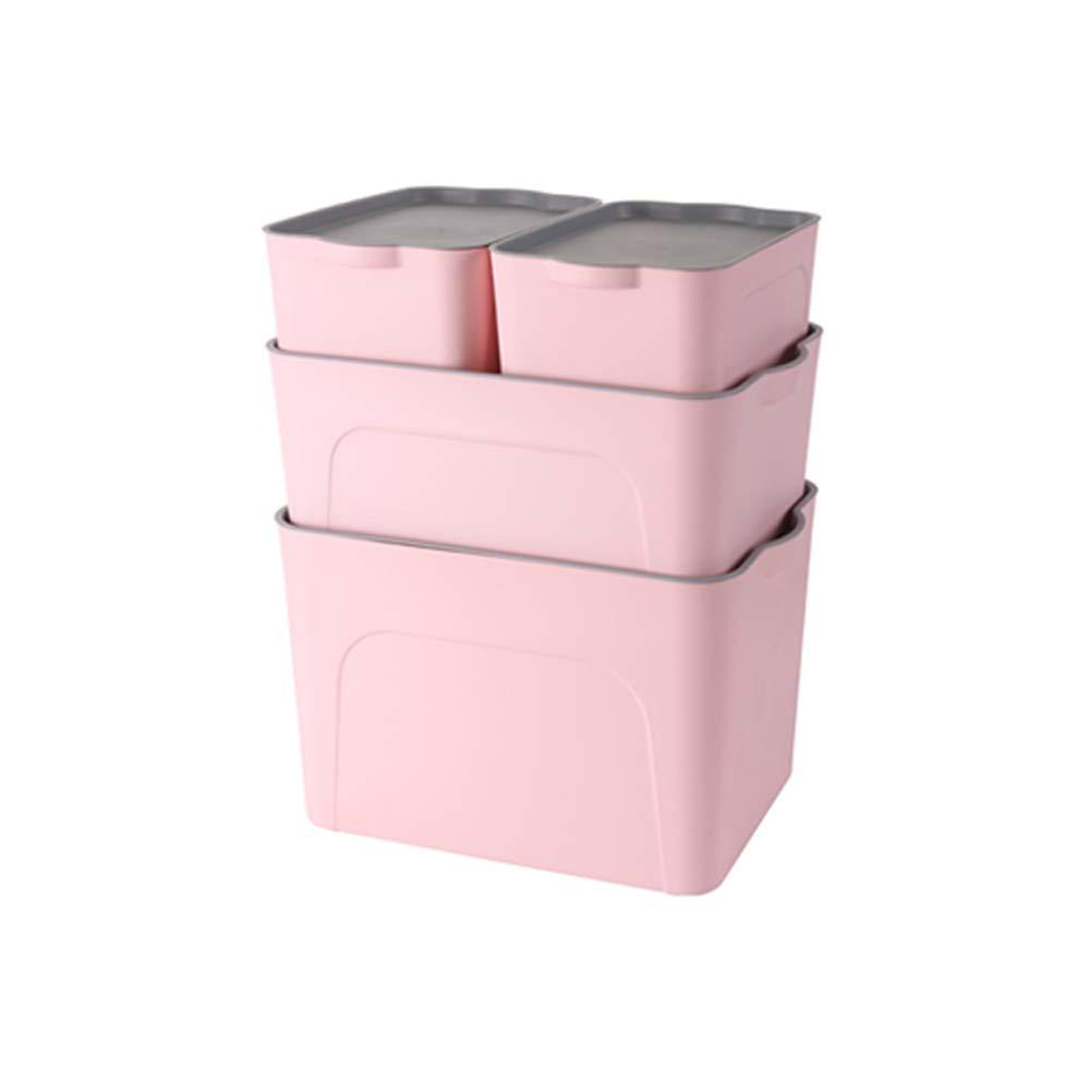 LiChenYao 家庭用収納ボックスプラスチック収納ボックス家庭用衣類収納ボックスデスクトップ簡単なサイズの数ワードローブ衣類収納ボックスの組み合わせ4ピース (色 : ピンク) B07MHK319Z ピンク
