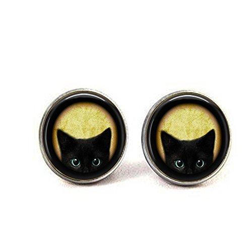 Black Noir Earrings (Black Kitten Earrings - Cat Lover Jewelry - Black Cat Earrings - Chat Noir - Peeking Cat Earrings - Kitten Jewelry - Kitty Cat.)