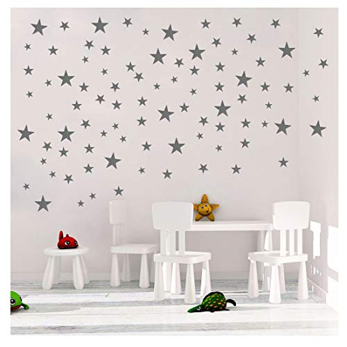 TOARTi Stars Wall Decals (124 Decals) Wall Stickers Removable Home Decoration Easy to Peel Stick Painted Walls Metallic Vinyl Polka Wall Decor Sticker for Baby Kids Nursery Bedroom (Silver Stars)