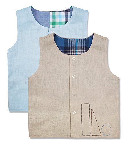 - Keepersheep Reversible Snap Front Vest Set(18-24 Months, Blue Plaid/Apricot Plaid)