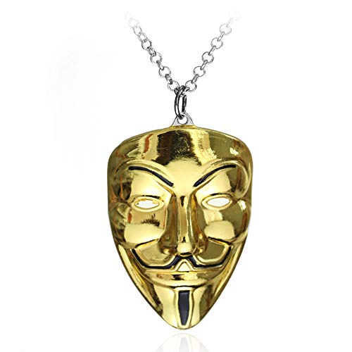 Necklace for Men Moive Jewelry V For Vendetta Anonymous Mask Hip Hop Pendant Hacker Mask Alloy Necklace