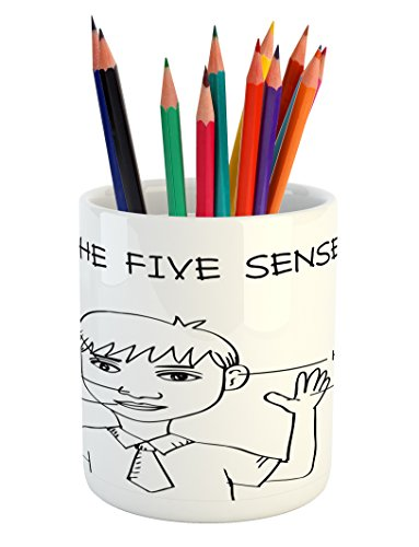 Ambesonne Educational Pencil Pen Holder, Five Senses Shown o