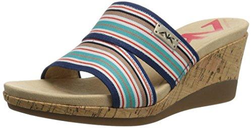 Anne Klein Sport Women's Pleasant Fabric Wedge Sandal, Blue, 6 M US