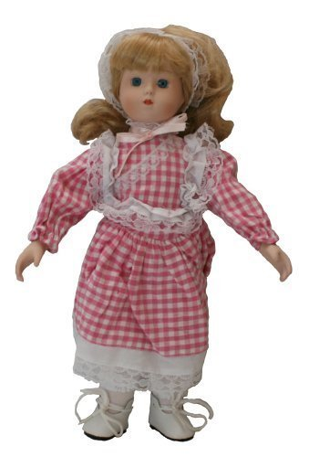 Standing Baby Porcelain Doll, 12 Inches, Lace Head Wear and Pink Plaid Dress, (Can Also Be Sitting)