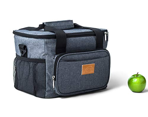 Large Adults 15L-24Can Thermal Insulated Reusable Lunch Bag, Tote Cooler Lunch Box For Men, Women Work Picnic bbq Camping Beach Hiking Gift (Grey).