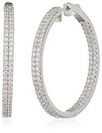 Amazon Collection Cubic Zirconia Sterling Silver Hoop Earrings