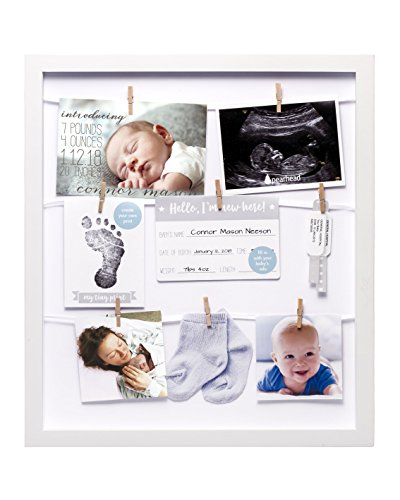 Pearhead Clothespin Collage Keepsake Frame to Display Your Favorite Photos and Memories in Baby's Nursery, Includes 8 Clothespins and a Clean-Touch Ink Pad to Capture Baby's Print, White