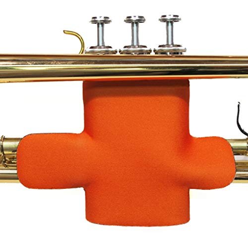 (Trumpet valve protector guard with hook and loop closure in colors and patterns - Trumpet Valve Guard Legacystraps Orange)