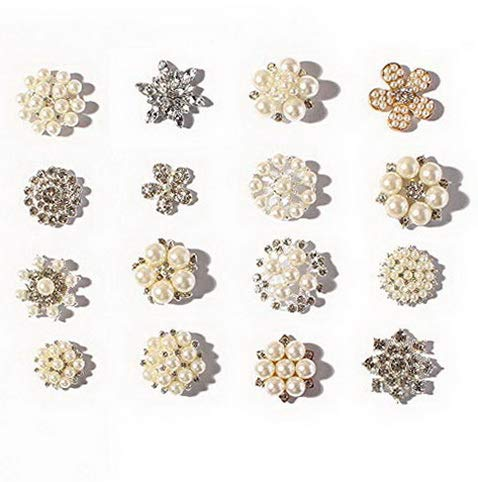 Werrox 16pcs Pearl and Clear Crystal Rhinone Mixed Kit for Invitation Brooch (16 pcs) | Model WDDNG -3646 -