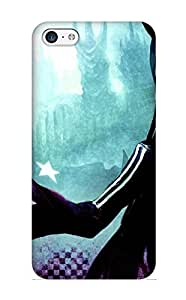Crooningrose High-quality Durability Case For Iphone 5c(Anime Black Rock Shooter Black Gold Saw)