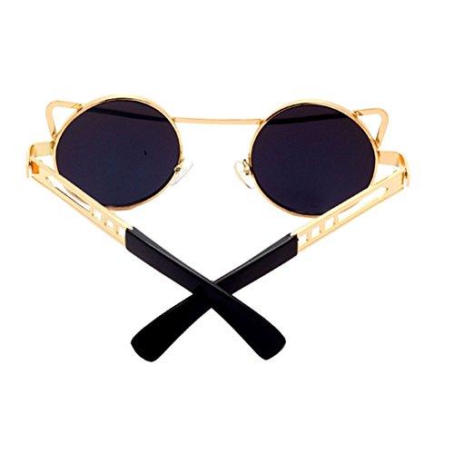 Xinvision Clásico sol vértigo de UV400 Redondas Oro Retro Protector Gafas Metal Anti Mujer Marco Unisex Xw7rXqIxv