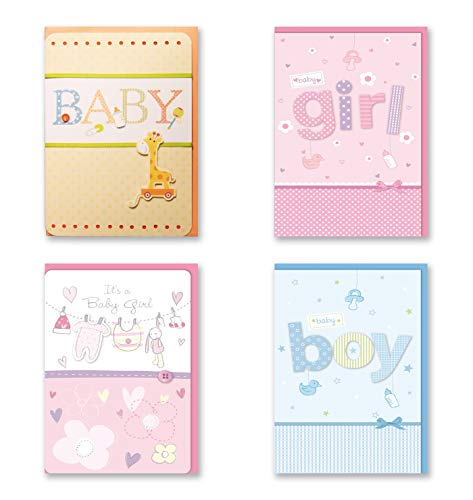 B-THERE Bundle of Congratulations Wishes for Baby Cards - 4 Card Pack Handmade Embellished Assortment Greeting Cards for Boy or Girl Birth & Shower Card