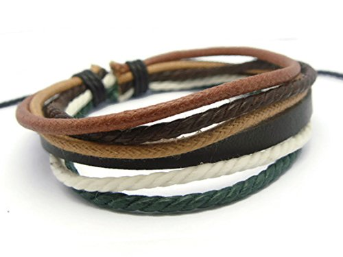 [APECTO Jewelry Leather Brown & Multicolour Ropes Surfer Wrap Bracelet Handmade, SM3] (Homemade Punk Rock Costumes)