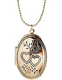 Engravable Heart Oval Locket Charm Necklace Pendant for Women Best Friend Picture Photo Gold tone