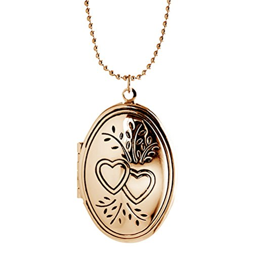 Gold Oval Family Locket - Sojewe Engravable Heart Oval Locket Charm Necklace Pendant for Women Best Friend Picture Photo Gold tone