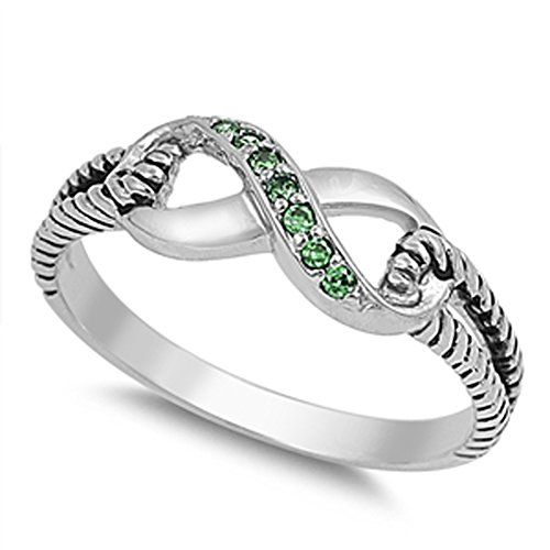 Simulated Emerald Infinity Rope Cute Ring New 925 Sterling Silver Thumb Band Size 9