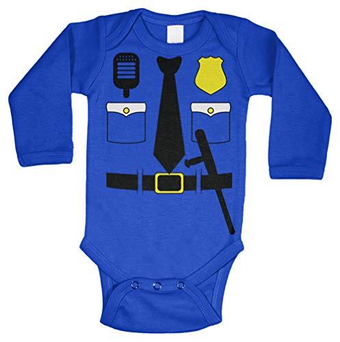 Cop Costume - Police Officer Trooper Long Sleeve Bodysuit (Royal Blue, Newborn) -