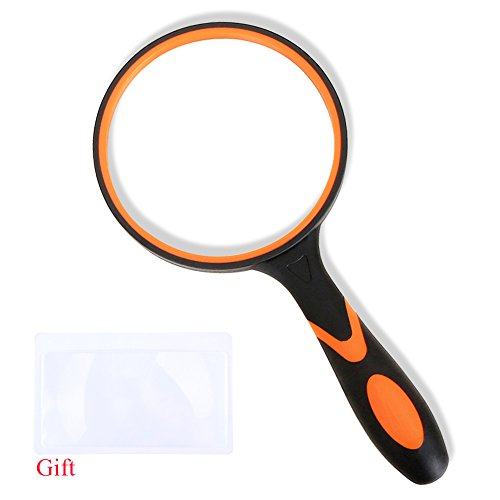 Magnifying Glass 3X Handheld Magnifier-3.95inch Large Magnifying Lens with Non-Slip Soft Handle for Reading,Inspection. (Orange Magnifying (Orange Soft Rubber)