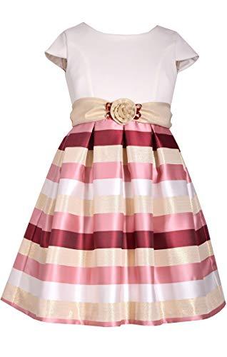 Bonnie Jean Big Girl's 7-16 Holiday Christmas Cap Sleeves Stripe Metallic Party Dress (16) ()